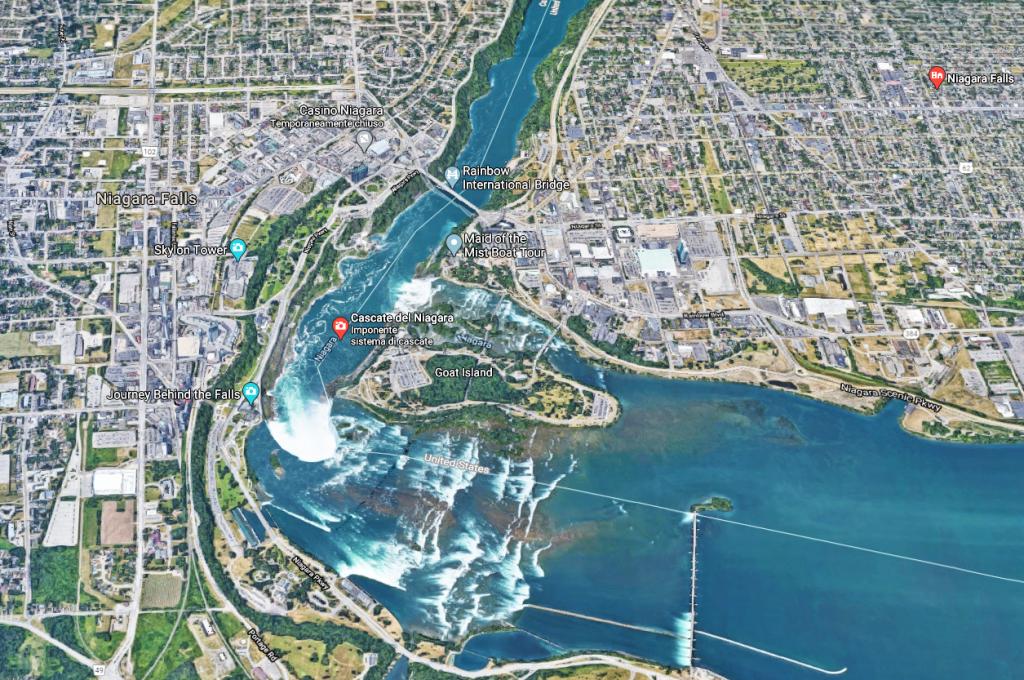 mappa cascate del Niagara