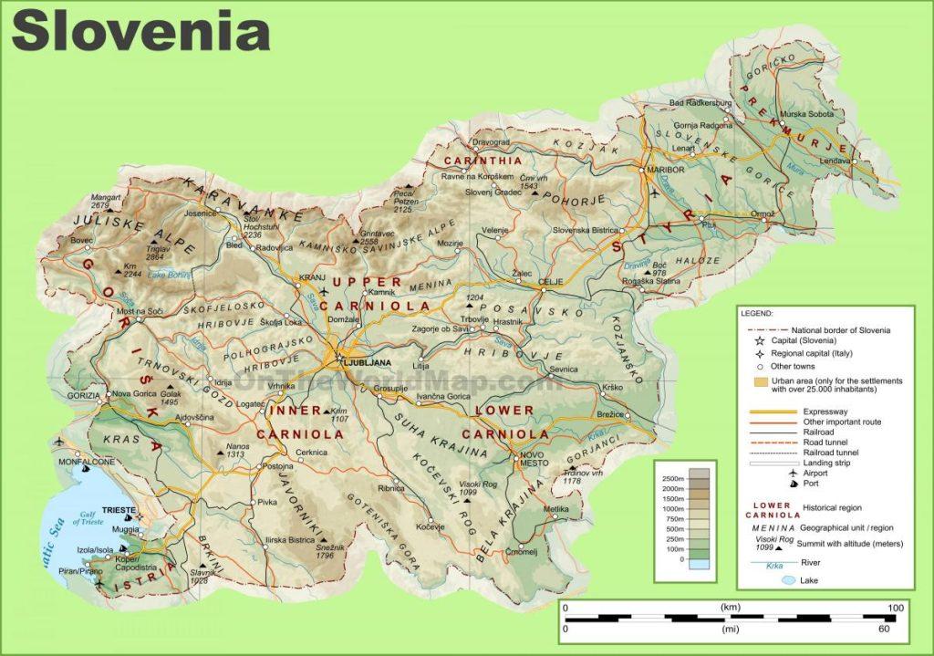 mappa fisica slovenia